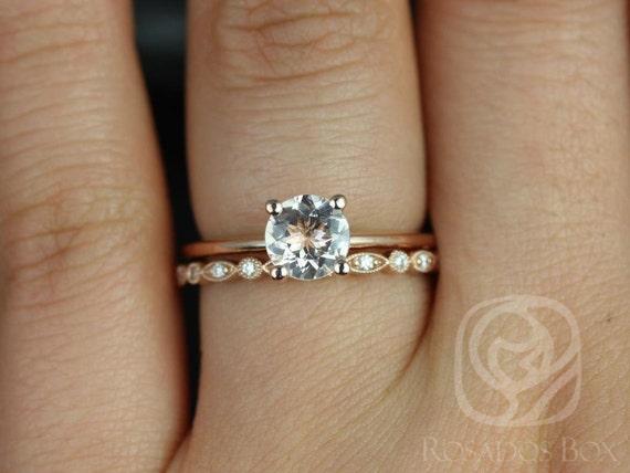 Rosados Box Skinny Alberta 6mm & Gwen 14kt Rose Gold Round Morganite Diamond Solitaire Wedding Set