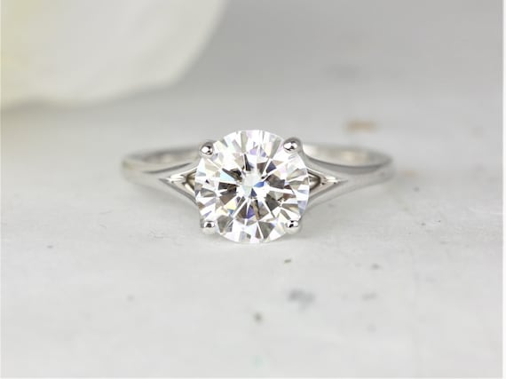 2ct Moxie 8mm 14kt White Gold Round Forever One Moissanite Dainty Mermaid Split Solitaire Engagement Ring,Rosados Box