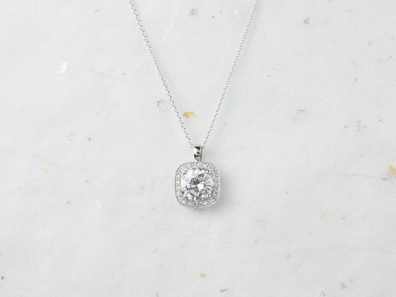Rosados Box Ready to Ship Rheine 14kt White Gold Round Forever One Moissanite Diamonds Cushion Halo WITH Milgrain Necklace