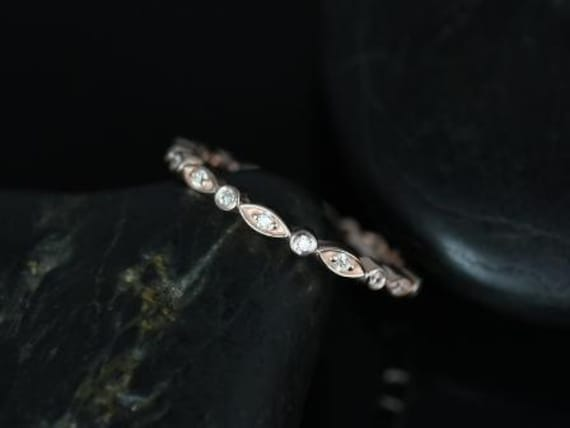 Ultra Petite Bead & Eye/Gwen 14kt Rose Gold Thin Diamond Vintage WITHOUT Milgrain FULL Eternity Band Stacking Ring,Rosados Box