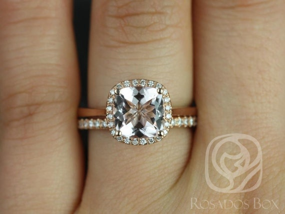 Roxie 8mm 14kt Rose Gold Cushion Morganite Diamond Dainty Micropave Cushion Halo Wedding Set Rings,Rosados Box