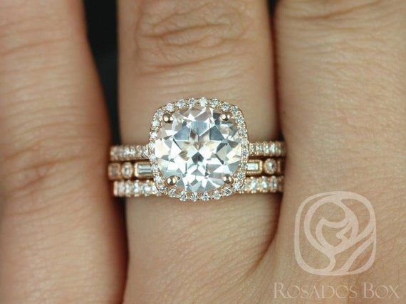 Rosados Box Barra 9mm & Ivanna 14kt Rose Gold Round White Topaz Cushion Diamond Halo TRIO Wedding Set Rings