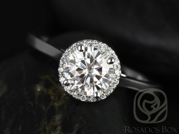 Rosados Box Amerie 6.5mm 14kt White Gold Round Forever One Moissanite Diamonds Halo Engagement Ring