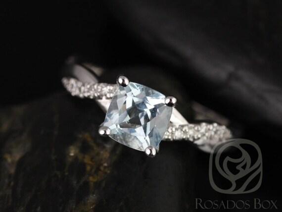 6mm Cushion Aquamarine Diamond Twisted Vine Engagement Ring,14kt Solid White Gold,Rosados Box
