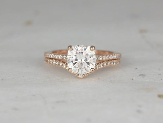 Rosados Box Marcelle 7.5mm & Chevy 14kt Rose Gold Cushion Forever One Moissanite and Diamond Cathedral Wedding Set