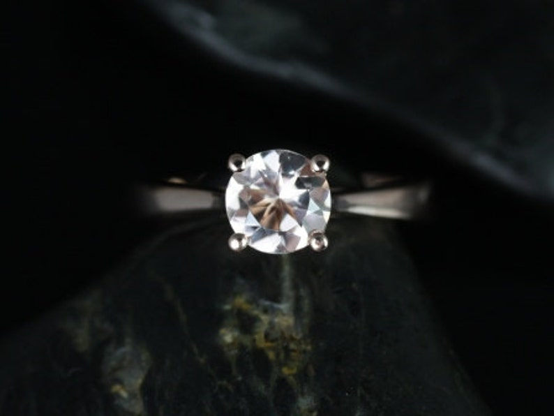 7c79a06fd4ba4 Rosados Box Heather 6mm 14kt Rose Gold Round Morganite and Diamonds Tulip  Cathedral Solitaire Engagement Ring