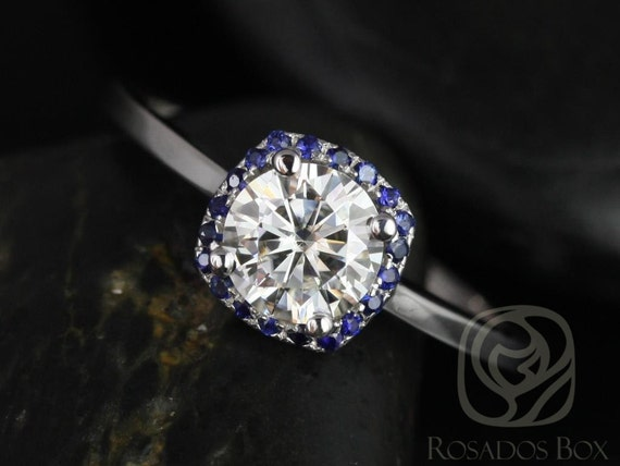 Forever One Moissanite Blue Sapphire Cushion Halo Engagement Ring, 14kt Solid Gold, Bella 6mm , Rosados Box
