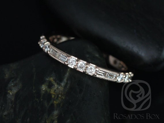 Rosados Box Gabriella 14kt Rose Gold Round and Baguette Bars Diamonds WITH Milgrain  ALMOST Eternity Band