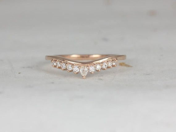 Rosados Box Marie 14kt Rose Gold Diamonds Tiara Crown Nesting Ring