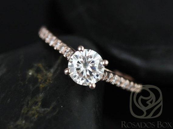 Rosados Box Eva 6mm 14kt Rose Gold Round Forever One Moissanite Diamonds Cathedral Engagement Ring