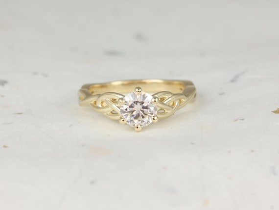Rosados Box 6 Prong Cassidy 6mm 14kt Yellow Gold Round F1- Moissanite Celtic Love Knot Engagement Ring
