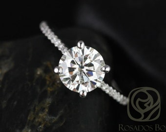 Rosados Box Eloise 7.5mm 14kt White Gold Round F1- Moissanite and Diamonds Cathedral Engagement Ring