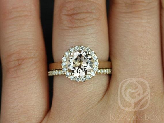 Rosados Box Feema 8mm & Romani 14kt Yellow Gold Round Morganite Diamond Halo Wedding Set Rings