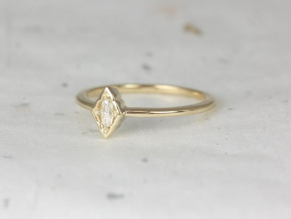 Rosados Box Leanne 14kt Yellow Gold Oval Forever One Moissanite Marquise Bezel WITHOUT Milgrain Scalloped Ring (S.L.A.Y. Collection)