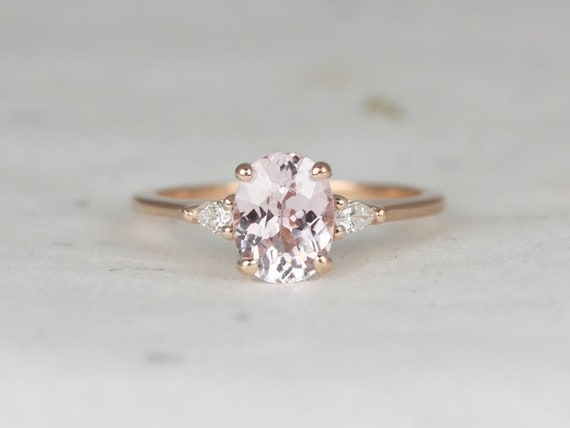 Rosados Box Petite Emery 1.65cts 14kt Rose Gold Oval Blush Peach Sapphire Diamond 3 Stone Engagement Ring