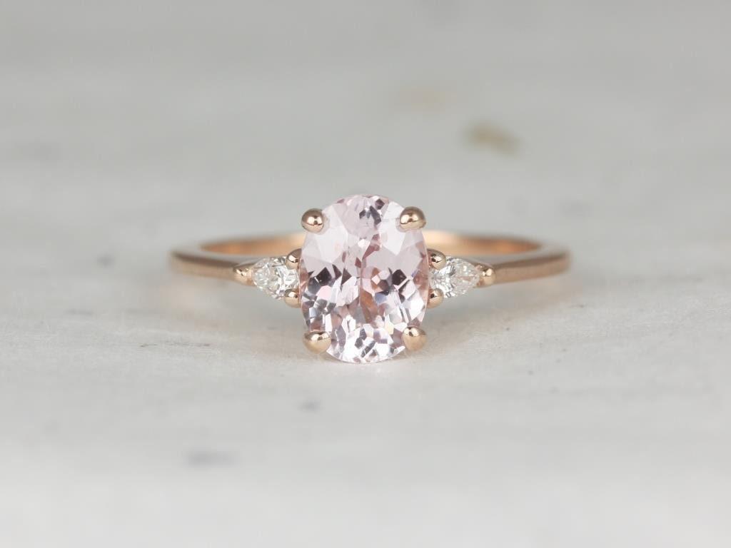 b84396513ba50 1.65ct Oval Blush Peach Sapphire Diamond 3 Stone Pear ...