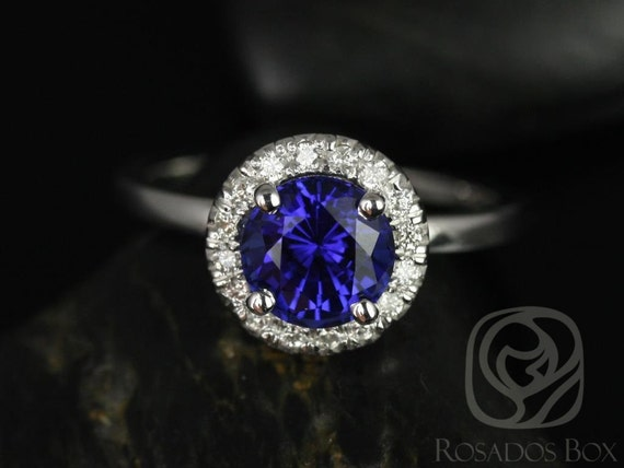 Rosados Box Katie 7mm 14kt White Gold Round Blue Sapphire and Diamonds Halo Engagement Ring