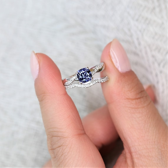 Ready to Ship Tressa 6mm 14kt Solid White Gold Blue Sapphire Diamond Minimalist Twisted Cushion Wedding Set Rings,Rosados Box