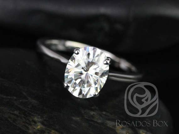 2ct Skinny Lois 9x7mm 14kt White Gold Forever One Moissanite Dainty Minimalist Oval Solitaire Engagement Ring,Rosados Box