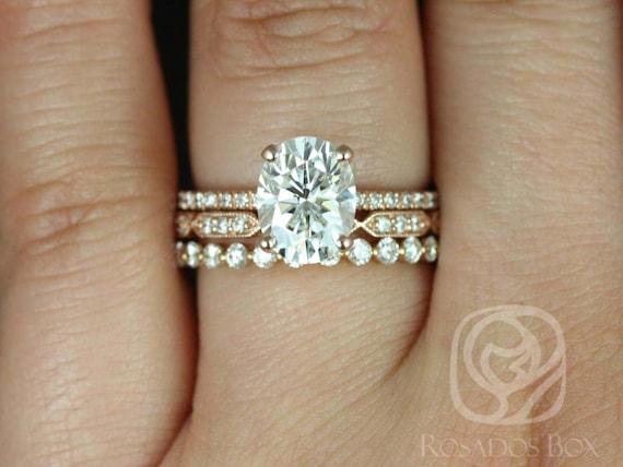 Rosados Box Hillary 9x7mm Stella & Naomi 14kt Rose Gold Oval Forever One Moissanite Diamond Basket TRIO Wedding Set Rings