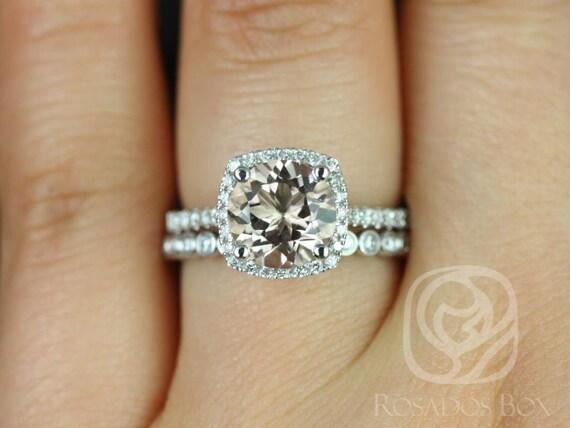 Rosados Box Samina 8mm & Petite Bubbles 14kt White Gold  Morganite and Diamonds Cushion Halo Wedding Set