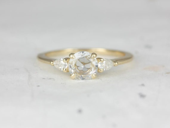 Round Rose Cut Sapphire Forever One Moissanite Pear 3 Stone Engagement Ring, 14kt Solid Yellow Gold, Elise 6mm, Rosados Box