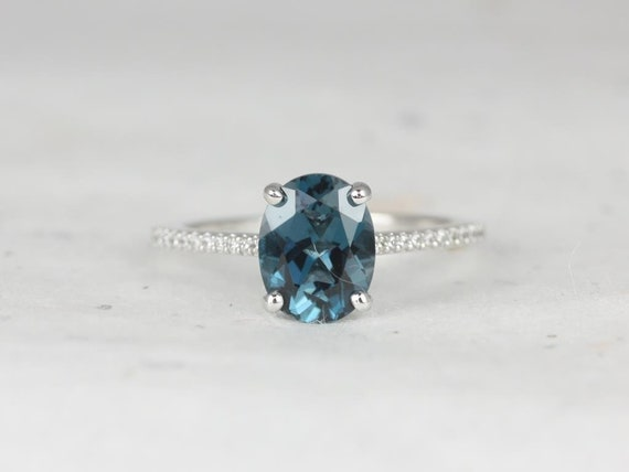 9x7mm Oval London Blue Topaz Diamonds Thin Cathedral Solitaire Engagement Ring,14kt Solid White Gold,Blake 9x7mm,Rosados Box