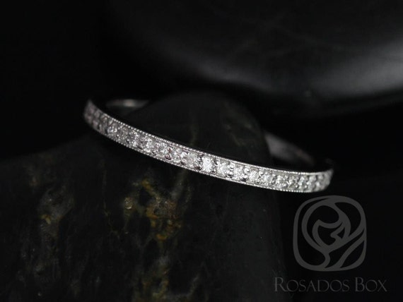 Rosados Box Victoria 14kt White Gold Classic Pave WITH Milgrain Diamonds HALFWAY Eternity Band