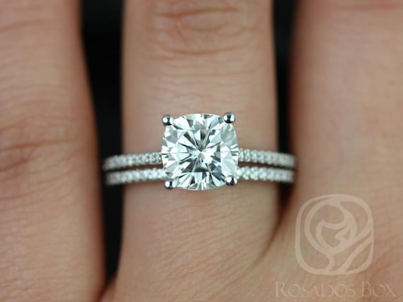 2.40cts Marcelle 8mm 14kt White Gold Forever One Moissanite Diamond Dainty Thin Cathedral Cushion Wedding Set Rings,Rosados Box
