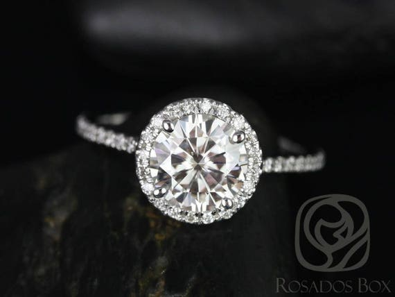 SALE Rosados Box Ready to Ship Kimberly 7.5mm Platinum Round FB Moissanite Diamonds Thin Pave Halo Engagement Ring