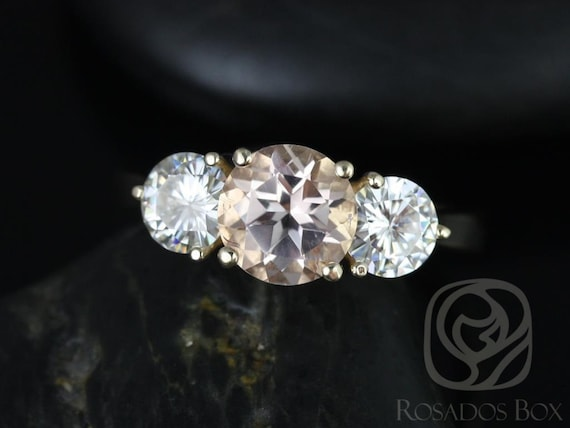Round Morganite Forever One Moissanite 3 Stone Engagement Ring, 14kt Solid Yellow Gold, Tina 7mm, Rosados Box