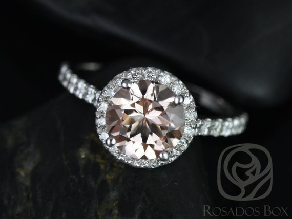 Rosados Box Ready to Ship Dana 8mm 14kt White Gold Round Morganite and Diamonds Halo Engagement Ring