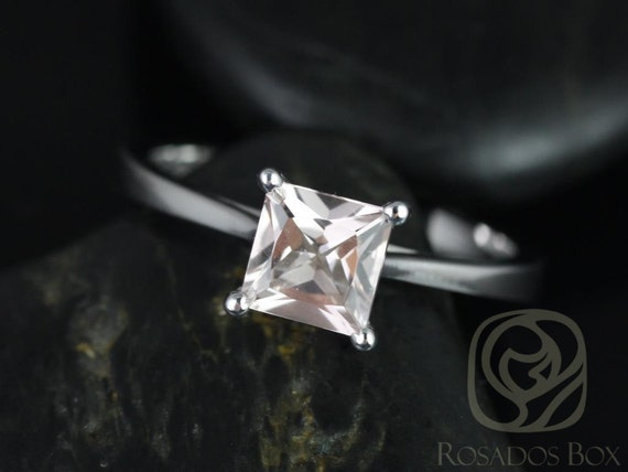 Rosados Box Gallina 6mm 14kt White Gold Princess Morganite Cathedral Looped Solitaire Engagement Ring