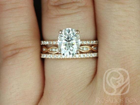 Rosados Box Hillary 9x7mm & Ember 14kt Rose Gold Oval Forever One Moissanite Diamond Basket TRIO Wedding Set