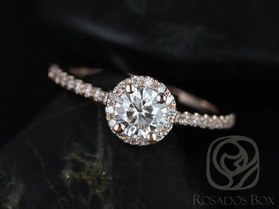 Rosados Box Amanda 5mm 14kt Rose Gold Round Forever One Moissanite Diamonds Halo Engagement Ring