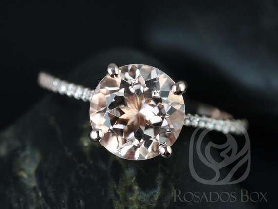 9mm Round Morganite White Sapphire Thin Cathedral Solitaire Accent Engagement Ring,14kt Rose Gold,DIAMOND FREE Eloise 9mm,Rosados Box