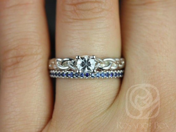 Rosados Box Prudence 5mm & Kierra 14kt White Gold Round White and Blue Sapphire Braided Wedding Set Rings