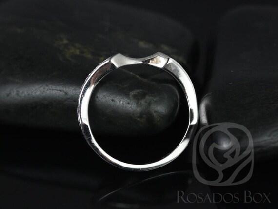 Rosados Box 14kt White Gold Matching Band to Emma Diamond Notched HALFWAY Eternity Band