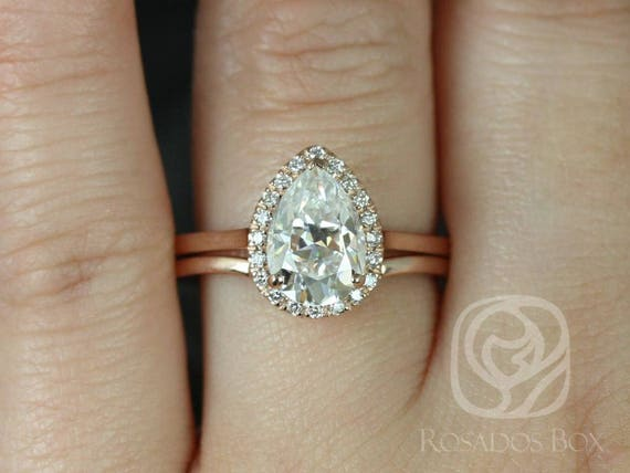 2ct Pear Forever One Moissanite Diamonds Extra Low Halo Wedding Set Rings Rings,14kt Solid Rose Gold,Jorie 10x7mm & Momo,Rosados Box