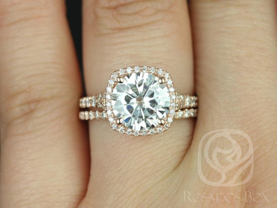 SALE Rosados Box Ready to Ship Giselle 9mm 14kt Rose Gold Round FB Moissanite and Diamonds Halo Split Shank Classic Wedding Set