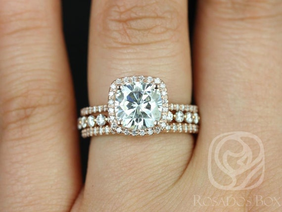 2ct Catalina 7.5mm & Petite Naomi 14kt Rose Gold Forever One Moissanite Diamonds Micropave Cushion Halo TRIO Wedding Set Rings,Rosados Box