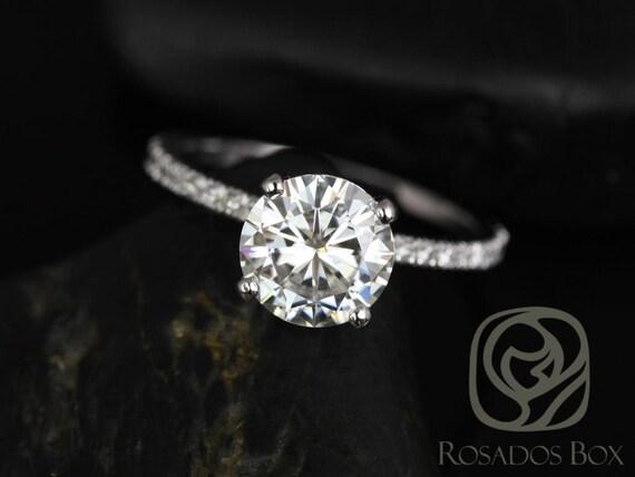 Rosados Box Sofia 8mm 14kt White Gold Round Forever One Moissanite Diamond Basket Engagement Ring