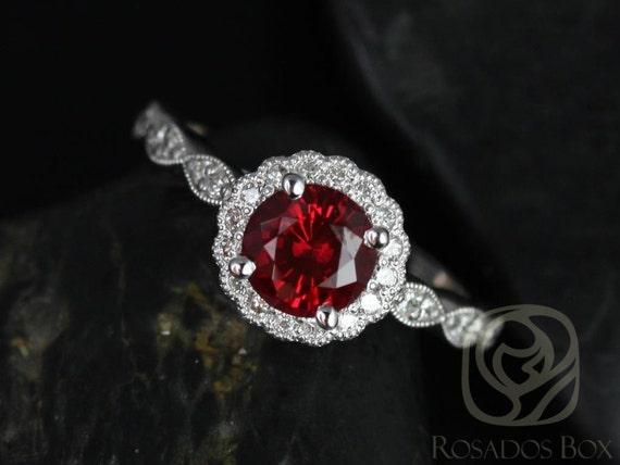 Rosados Box Sunny 6mm 14kt White Gold Crimson Ruby & Diamond Flower Halo WITH Milgrain Engagement Ring
