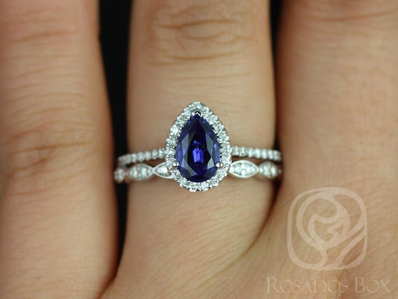 8x5mm Pear Blue Sapphire Diamonds Halo Wedding Set Rings,14kt Solid White Gold,Tabitha 8x5mm & Christie,Rosados Box