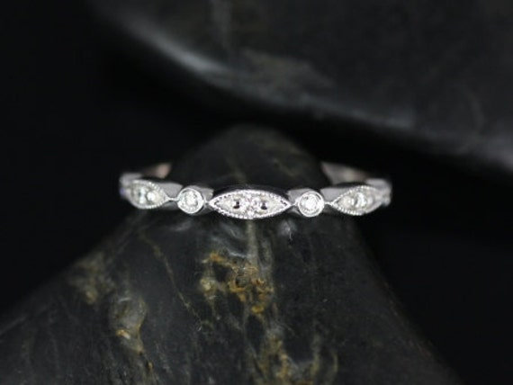 Rosados Box Petite Bead & Eye 14kt White Gold Vintage Diamond HALFWAY Eternity Band