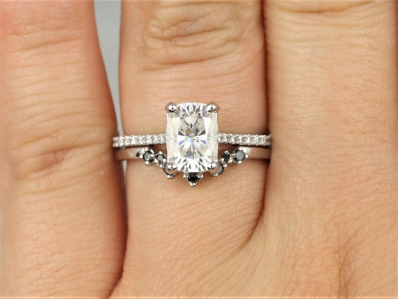 1.50cts Whitney 8x6mm & Remy 14kt White Gold Forever One Moissanite Diamond Dainty Pave Rectangle Cushion Wedding Set Rings,Rosados Box