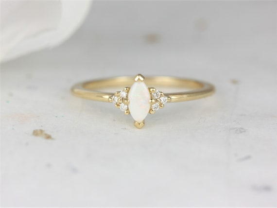Charlie 6x3mm 14kt Gold Opal Sapphire Dainty Marquise Cluster 3 Stone Stack Ring,Rosados Box