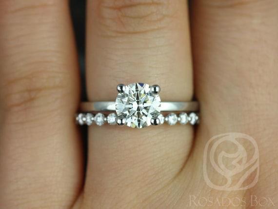Rosados Box Ella 7mm & Petite Naomi 14kt White Gold Round Forever One Moissanite Diamonds Wedding Set Rings