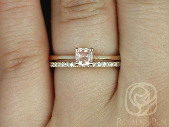 0.45ct Cushion Peach Champagne Sapphire Cathedral Solitaire Wedding Set,14kt Rose Gold,Ready to Ship Gallina 0.45cts & DIA Barra,Rosados Box