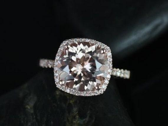 Rosados Box Samina 10mm 14kt Rose Gold  Morganite and Diamonds Cushion Halo Engagement Ring